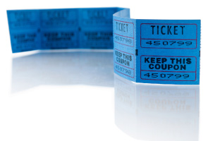 A strip of blue event tickets on a white background